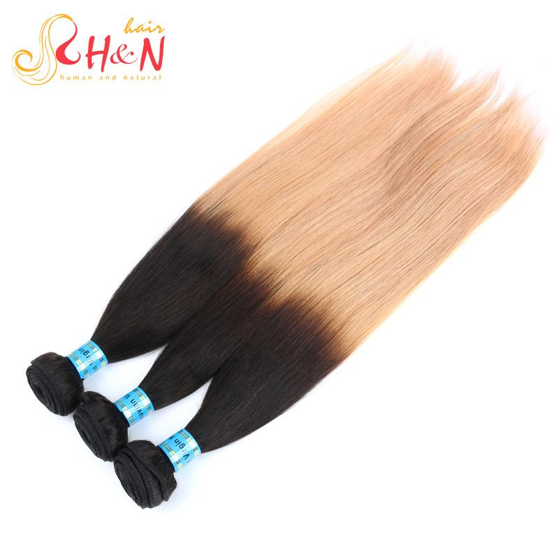 (Buy here: http://appdeal.ru/3bwf ) Ombre Peruvian Virgin Hair Straight Human Hair Weave Bundles 4 Pcs Lot Virgin Peruvian Hair two tone 1B#27# Blonde Hair Weaves for just US $141.86