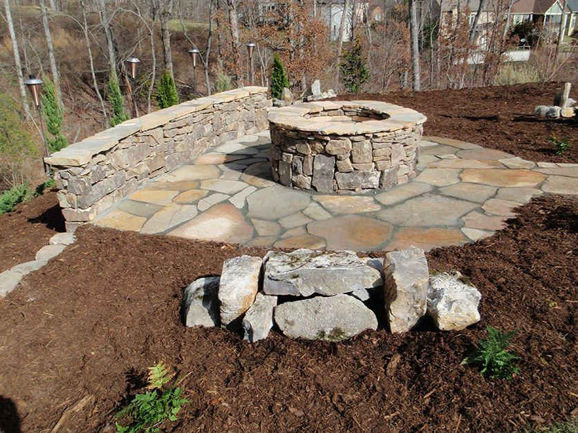 Stone Fire Pit, Patio, Bench In Arden By Asheville Landscaper Ambrose  Landscapes