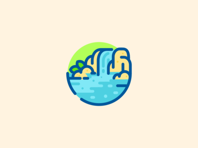 Waterfall Indie Game Art Waterfall Flat Design Illustration