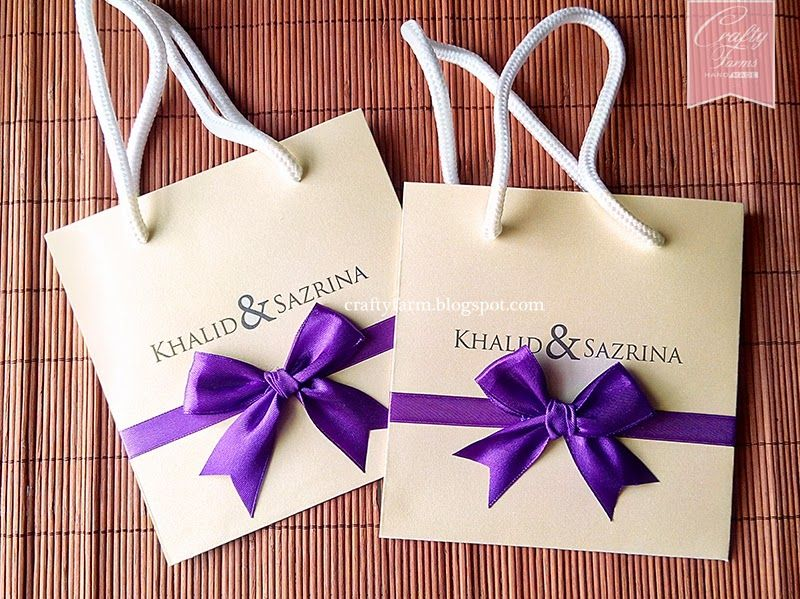 Cream and Purple Paper Bag Themed Wedding Cards Kad Kahwin - best of handmade formal invitation card