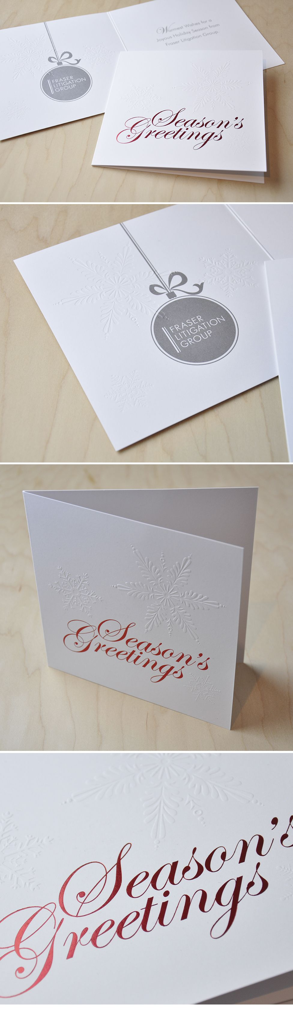 Corporate Christmas Card | red foil, silver ink, emboss on matte ...