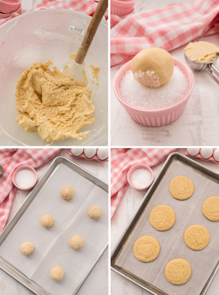 Soft and Chewy Sugar Cookies - If you love the taste of Sugar Cookies but don't have time for rolling pins, cookie cutters or frosting, these Soft Sugar Cookies are for you! Soft and chewy on the inside and crunchy on the outside with the unmistakable flavor of a classic Sugar Cookie Recipe. And did we mention how easy they are to make? Pin this yummy Cookie Recipe for later and follow us for more delicious Cookie ideas. #SugarCookies #SugarCookieRecipe #SoftSugarCookies