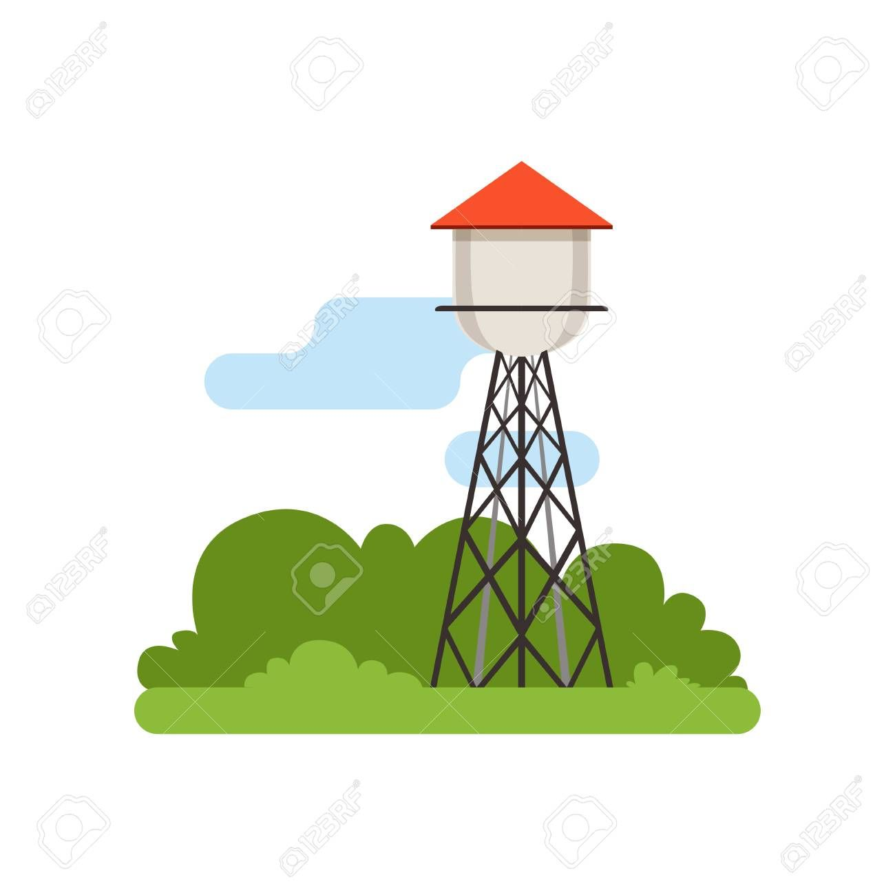 Water Tower Farm Building Countryside Life Object Rural Landscape Vector Illustration Sponsored Building Countrysid Card Templates Novelty Lamp Decor