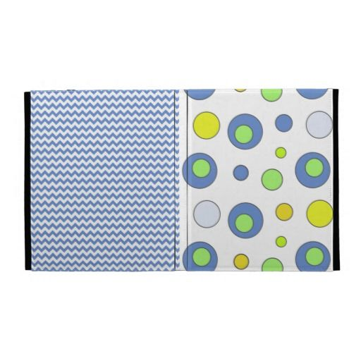 A cute blue chevron pattern iPad Folio case with blue and yellow retro circle dots.