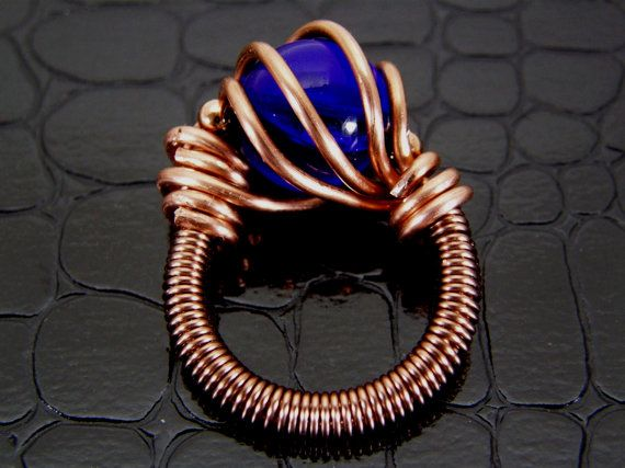 Copper Wire Ring with Dark Blue Glass Bead Hand Crafted & Wire ...