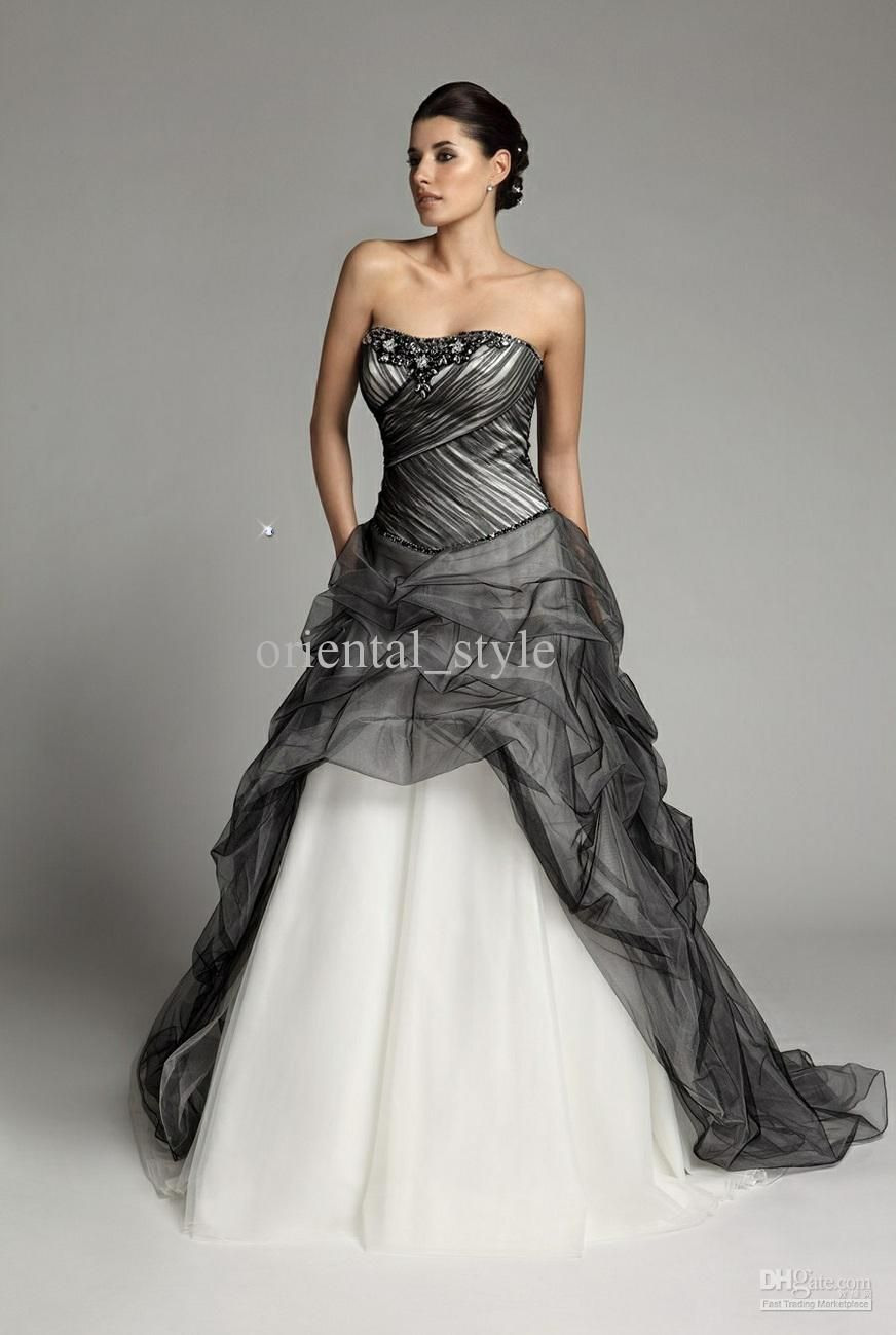 White Wedding Dresses With Black Accents at Exclusive Wedding ...
