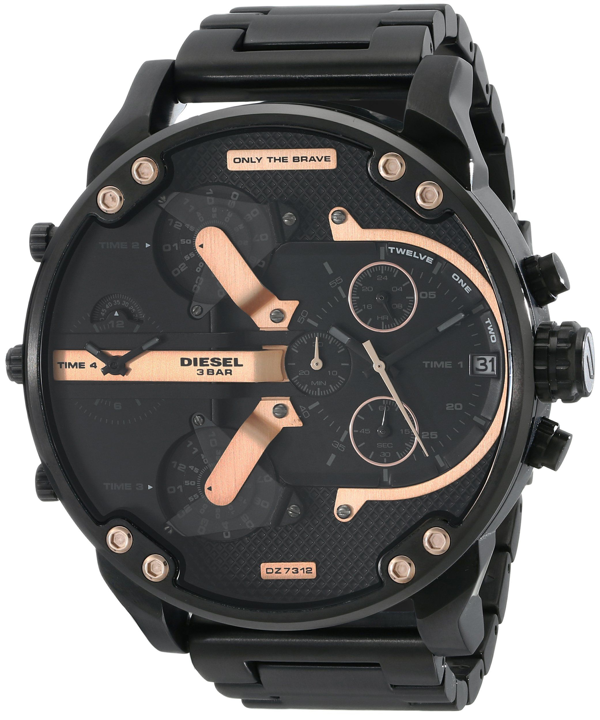 19b052151fe8 Amazon.com  Diesel Men s DZ7312 The Daddies Series Analog Display Analog  Quartz Black Watch  Diesel  Watches