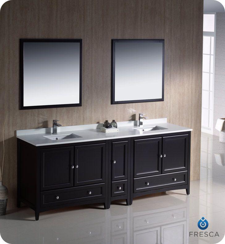 Oxford 84 Inch W 3 Drawer 5 Door Vanity In Black With Quartz Top