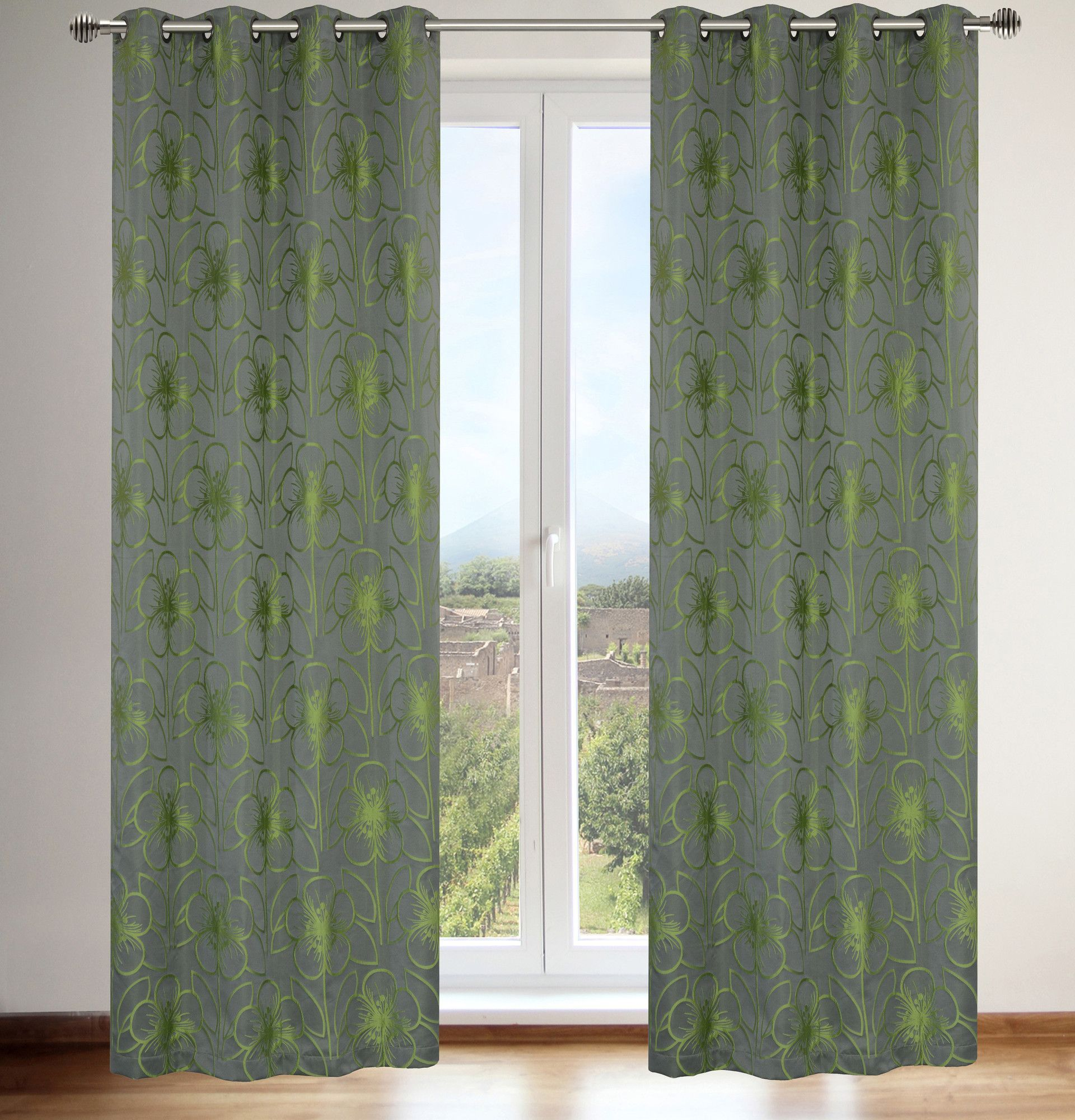 Tania Floral Grommet Curtain Panels