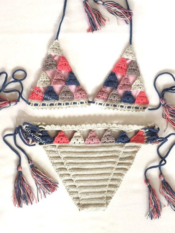 Crochet Bikini , Triangle Bikini Crochet bikini Swimwear Brazilian ...