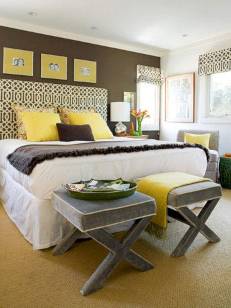 45 Cozy Grey Yellow Bedrooms Decorating Ideas Room Ambiance Bedroom Interior Decor