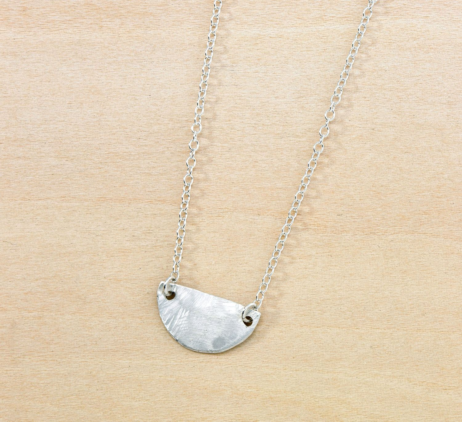 Half circle hammered pendant sterling silver tiny necklace half circle hammered pendant sterling silver tiny necklace lifes journey milestone meaning simple aloadofball Image collections
