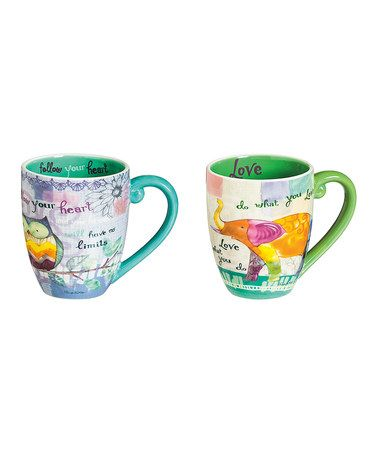 Another great find on #zulily! Owl & Elephant Color My World Coffee Cup - Set of Two #zulilyfinds