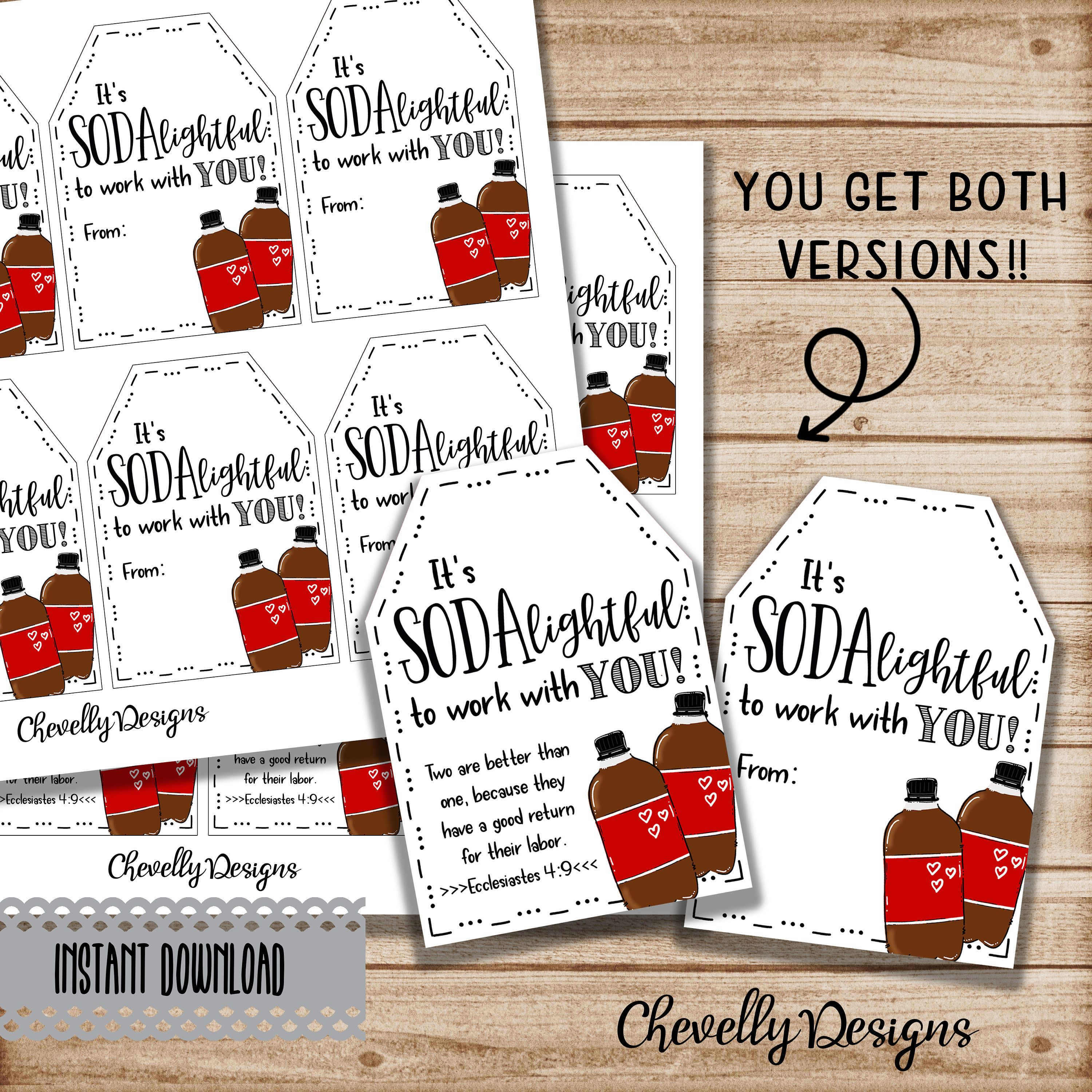 Soda Pop Gift Tags Printable Digital File Sodalghtful To Work With You Coworker Boss Staff Appreciation Ht010 Instant Download Gift Tags Printable Staff Appreciation Gifts Employee Appreciation Gifts