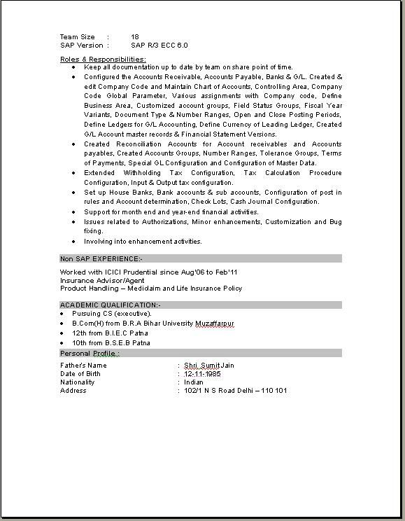 Free Download Sap Fico Consultant Resume Gordon Smith Certified
