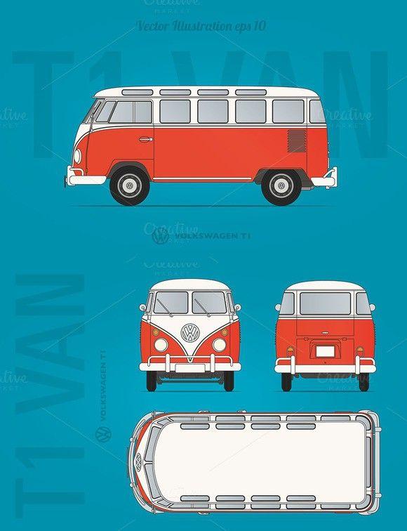Vw T1 Van Blueprint In 2020 Blueprints Vans Vw Bug