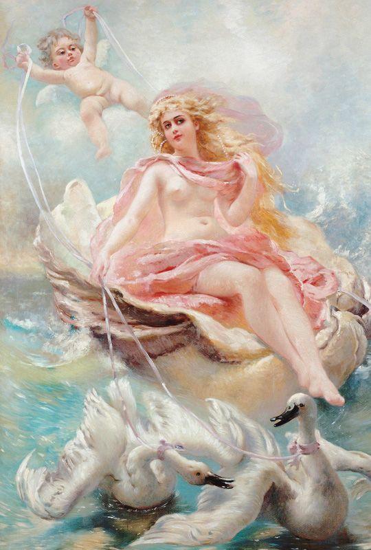 "vintagegal: "" Konstantin Makovsky (1839-1915)- Goddess of Water on a shell-chariot """