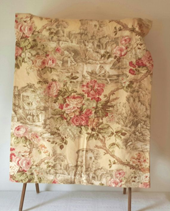 Vintage Handmade Toile Curtains D English Fl Pastorial Excellent Condition Pink Yellow Panels Lined