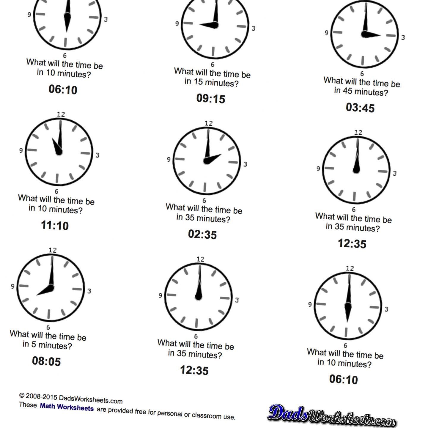 Math Worksheets Simple Time Addition Worksheets