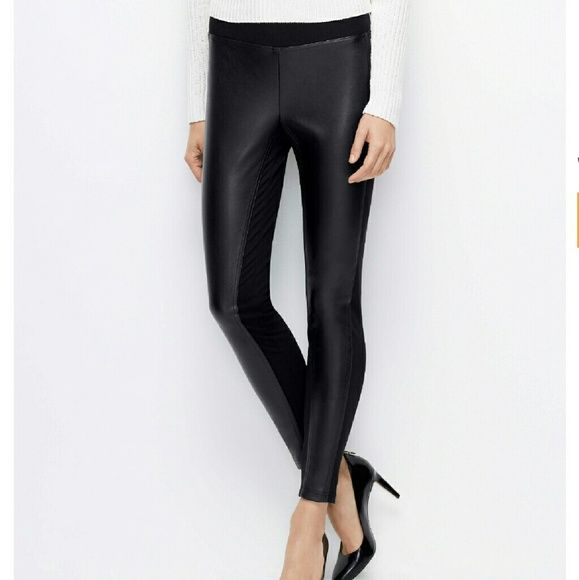 NWT Ann Taylor faux leather front legging size Lrg Ann Taylor faux leather front legging size large. Pulls on for a comfy forgiving fit, the leather front panels create a slimming silhouette. I am obsessed with these pants unfortunately they are just to big for me. Ann Taylor Pants Leggings