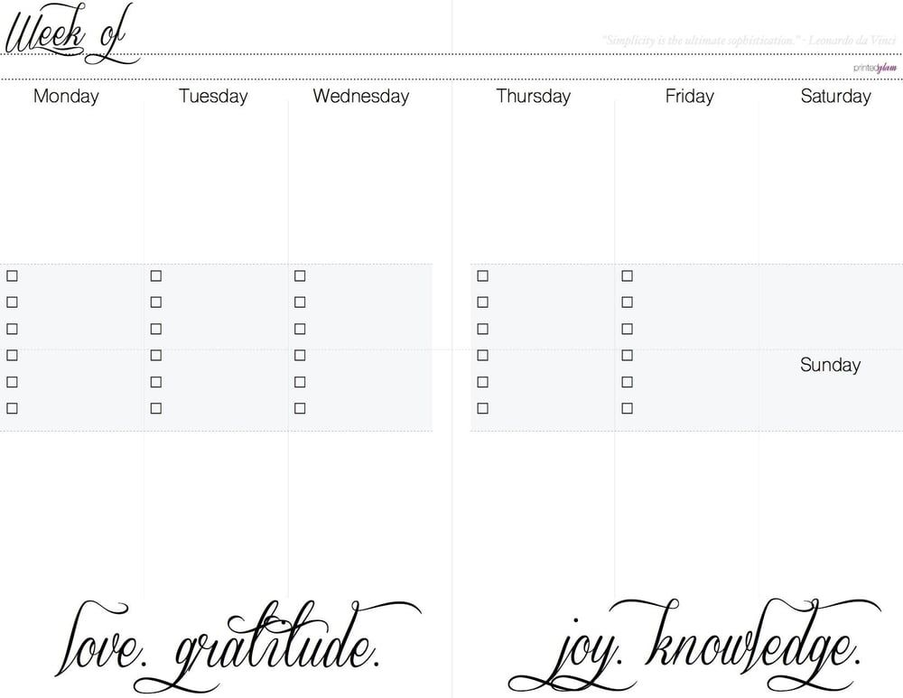 Free Weekly Vertical Planner, Week on two page insert