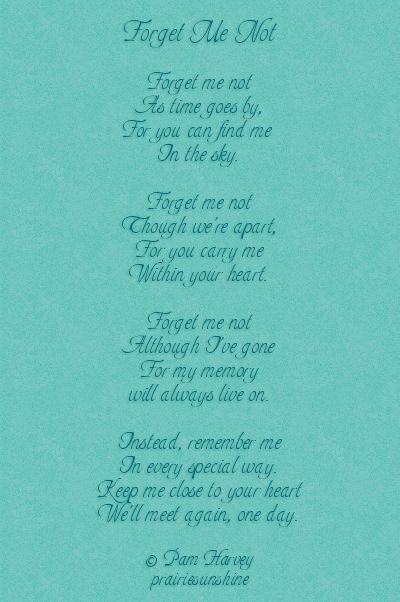 Forget Me Not Poem Google Search Inspirational Food