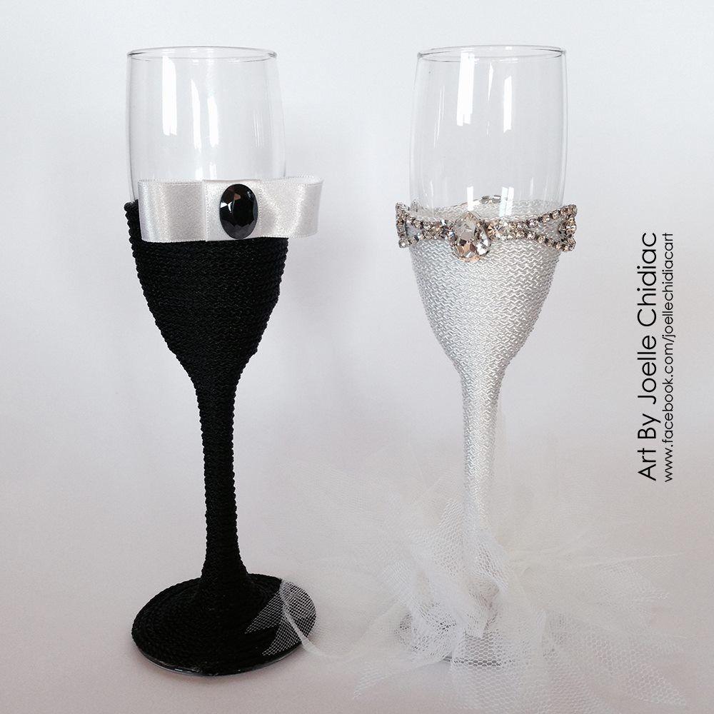 Custom hand-made wedding champagne glasses made with Swarovski ...