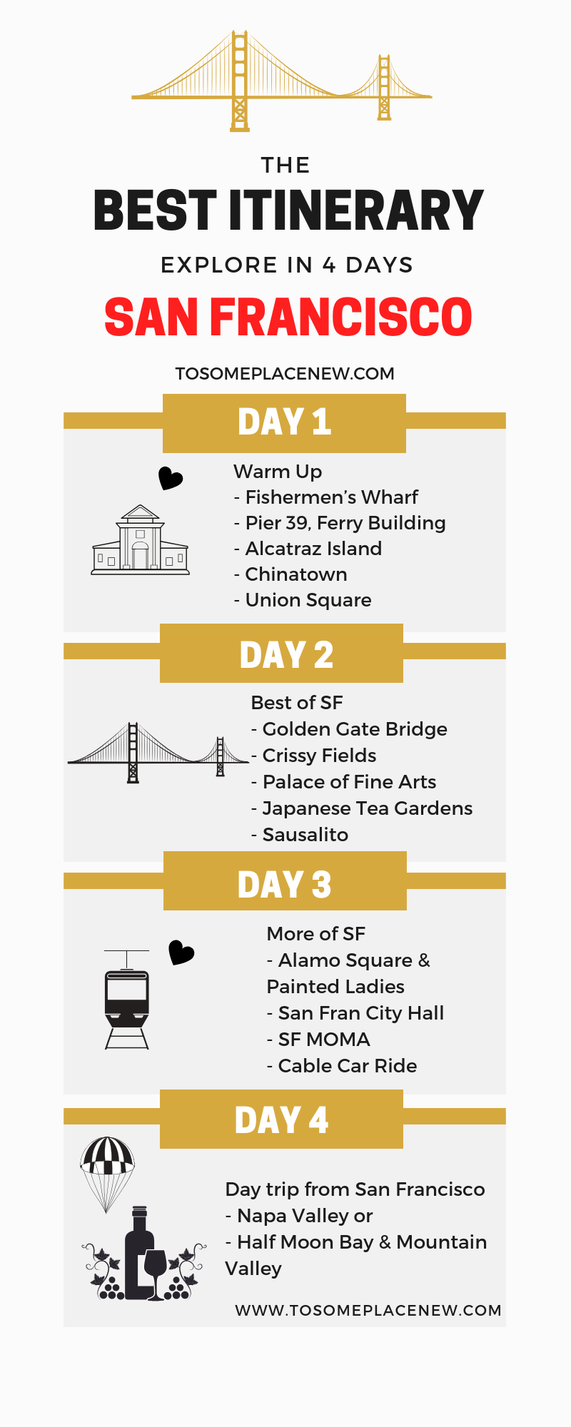 Perfect 4 Days in San Francisco Itinerary for first timers - tosomeplacenew #travelnorthamerica