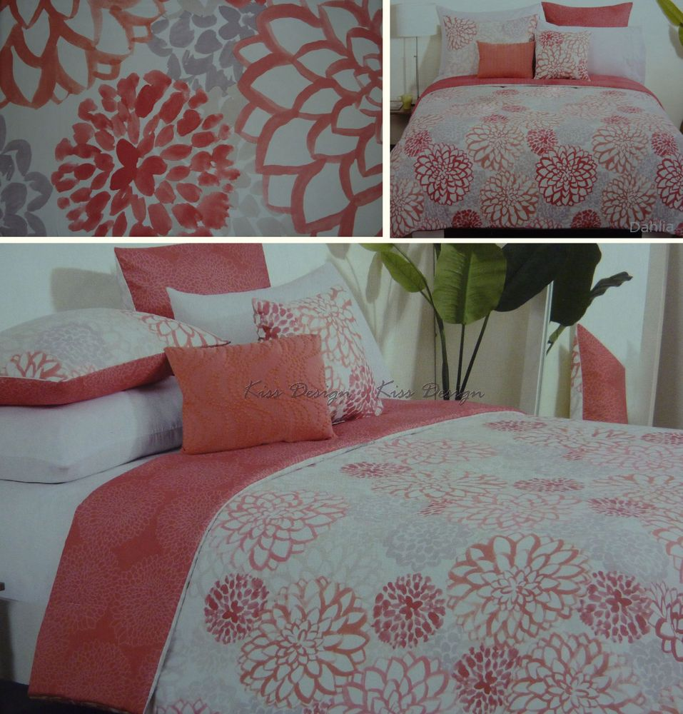 NIP Style Happy *DAHLIA* Floral Full QUEEN Duvet Cover SHAMS Pink Taupe Coral #StyleHappy