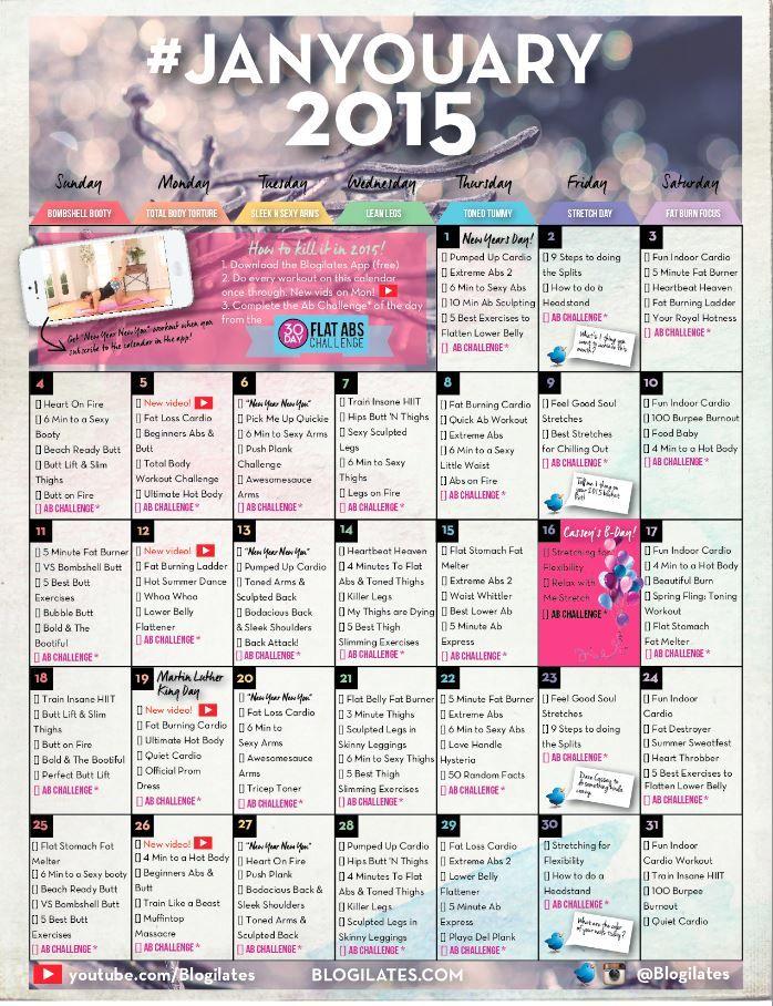 January Workout Calendar MOVENT Pinterest Workout calendar