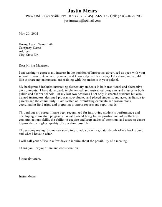 Samples of education cover letters for resumes Resumes \ Cover - Cover Letter Job Application Example