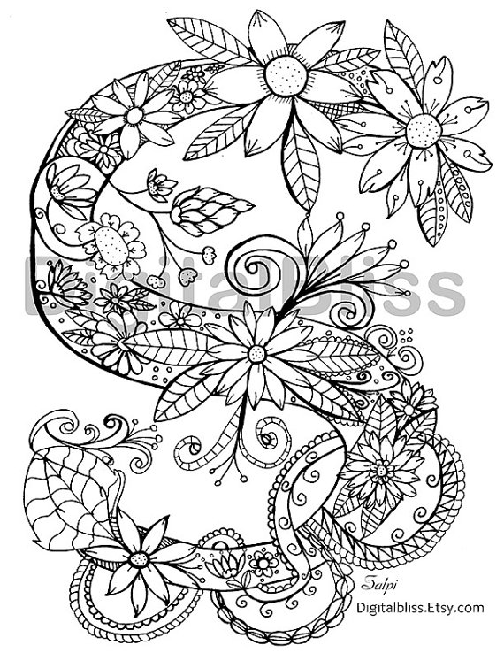 Adult Coloring Page Instant Download Monogram Floral S Coloring