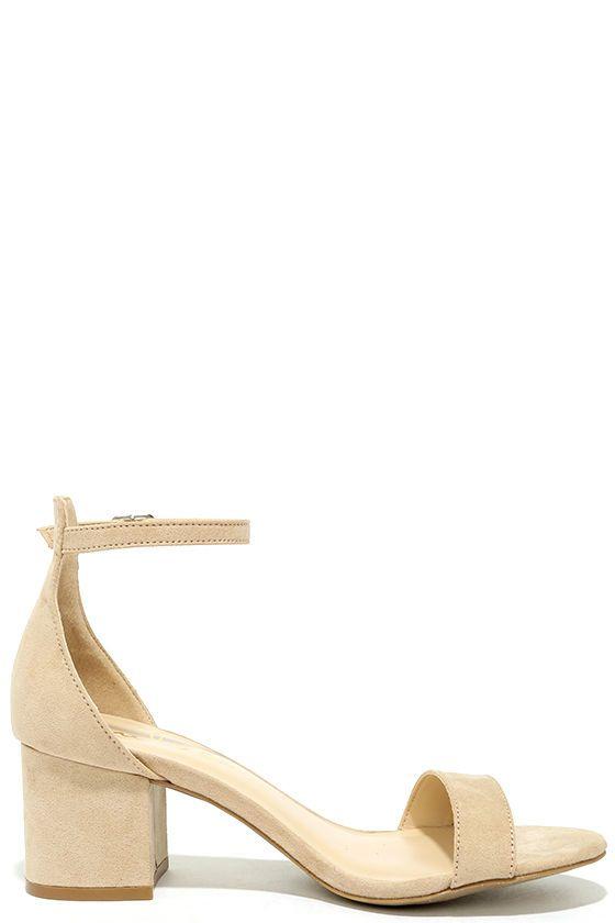 Lulus Harper Natural Suede Ankle Strap Heels - Lulus Kf2gazFFvp