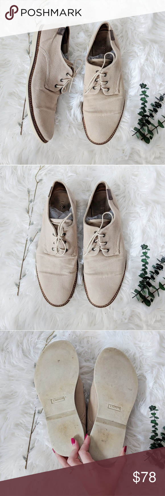 8fb9c3b548817f LACOSTE Sherbrooke canvas lace up oxford tan Laid-back in lace-up canvas