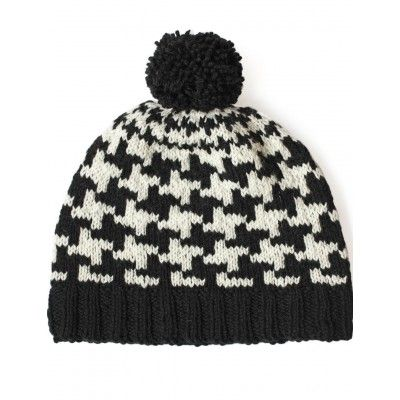 Fair Isle Knit Send In The Hounds Tooth Hat Free Pattern