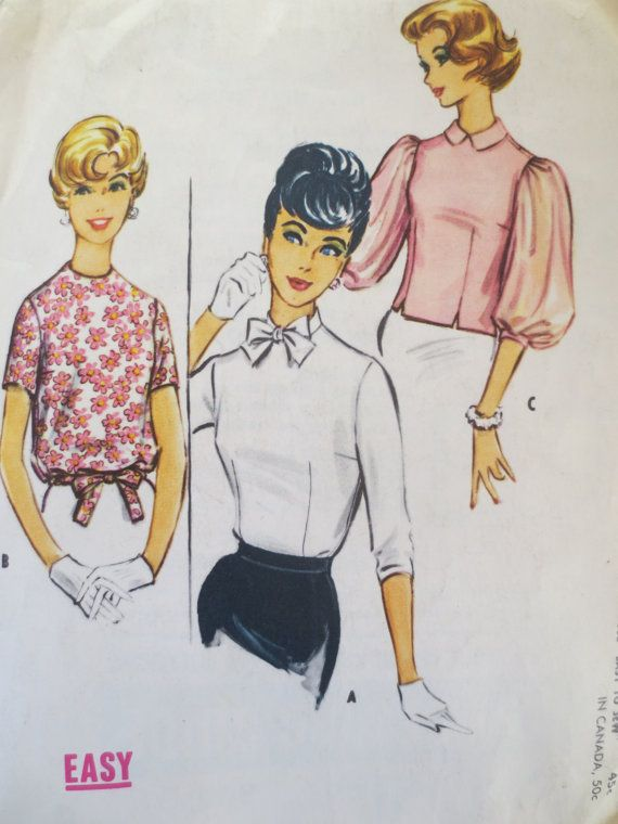 Vintage McCall's 5047 Sewing Pattern, 1950s Blouse Pattern, Bow Collar, 1950s Top Pattern, Bust 32, Vintage Sewing, 1950s Sewing Pattern