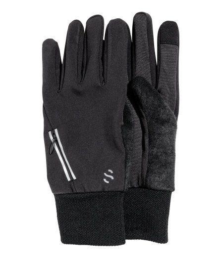 Check this out! Running gloves in fast-drying, windproof functional fabric with reflective detail at top. Small key pocket with concealed zip on upper side of one glove. Tips of thumb and index finger in smartphone-friendly material. Lightly brushed thermal insulation inside. - Visit hm.com to see more.