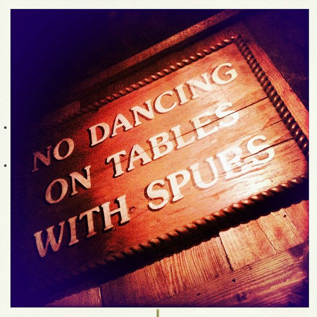 No Dancing On Tables With Spurs Steakhouse Cowboys Fort ...