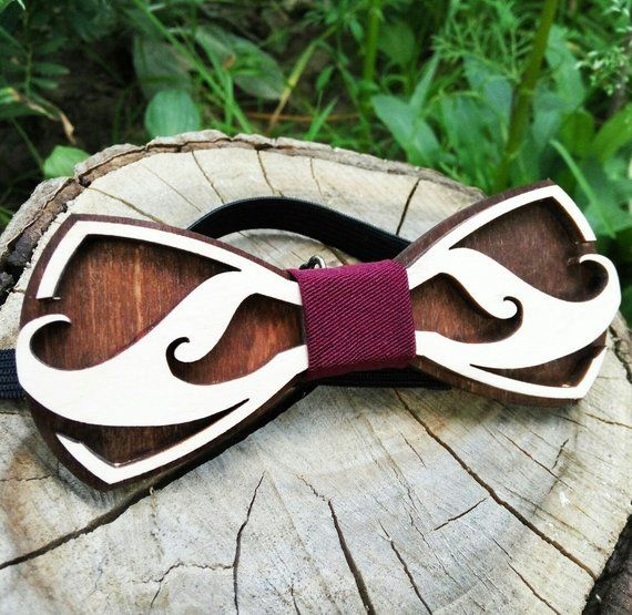 4364bcbe64a6 Wooden Bow Tie Ukrainian Mustache/ Unique Design / Gift For Men / Wedding  Wood Bowtie / Wooden Bowti