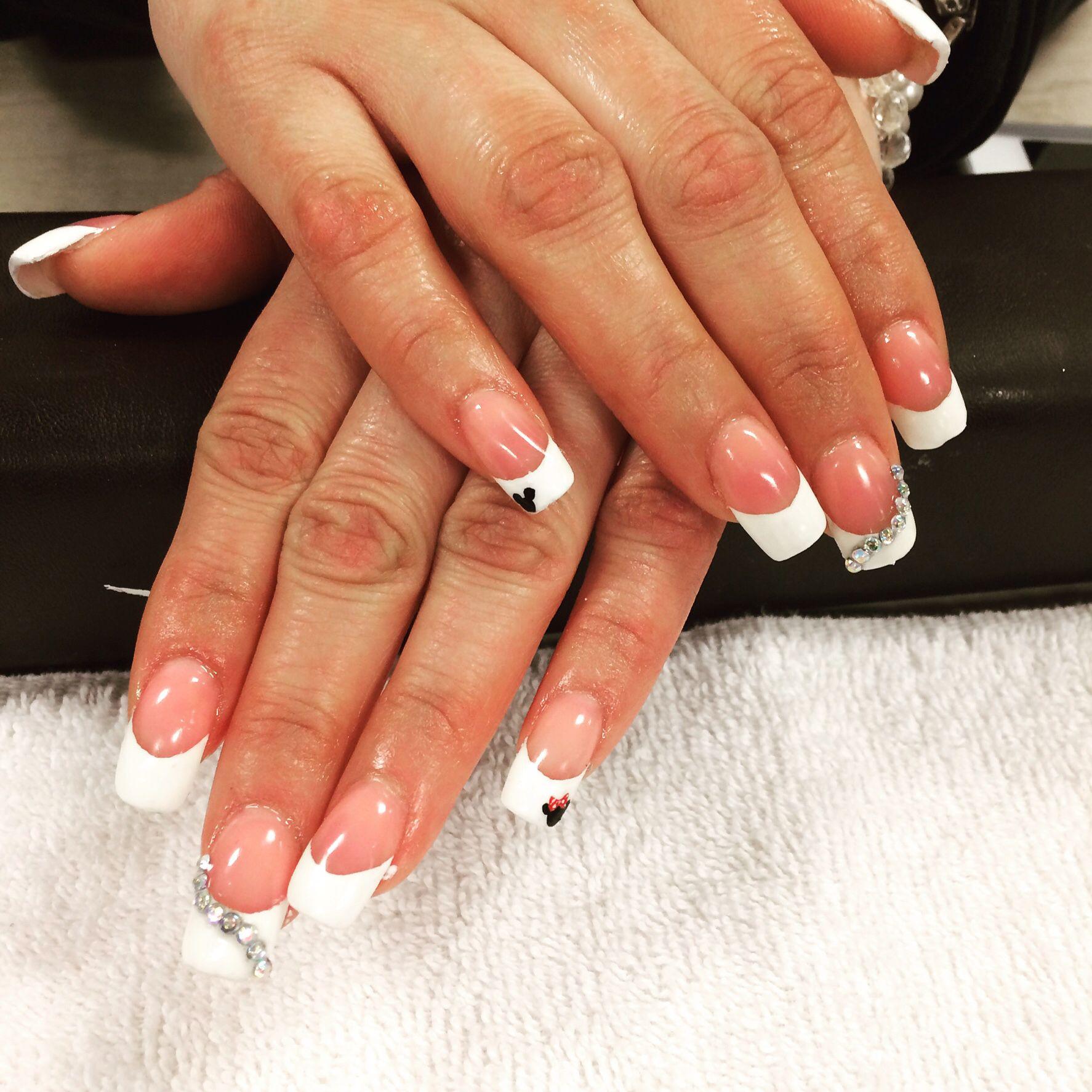 Minnie and Mickey diamond French tip | My nails | Pinterest | Disney ...