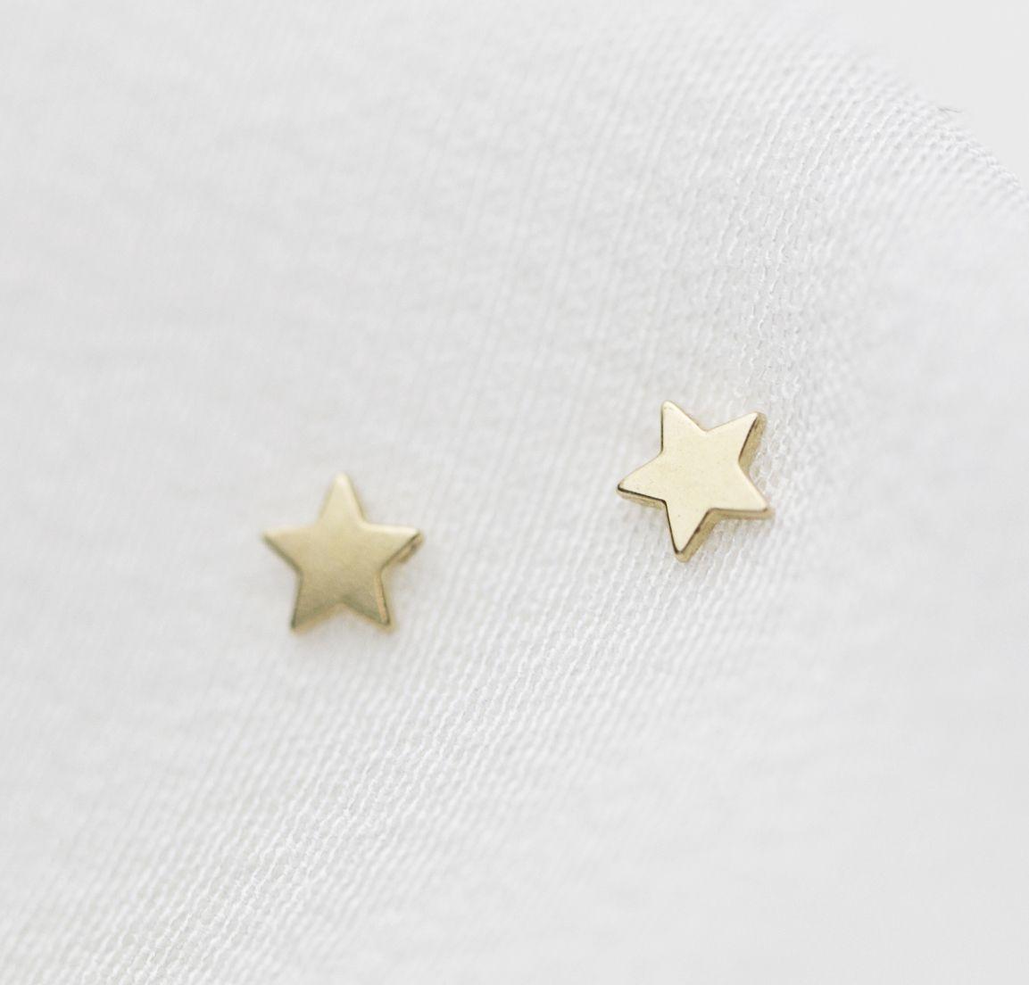 14K solid gold  Star stud Earrings -  under $50