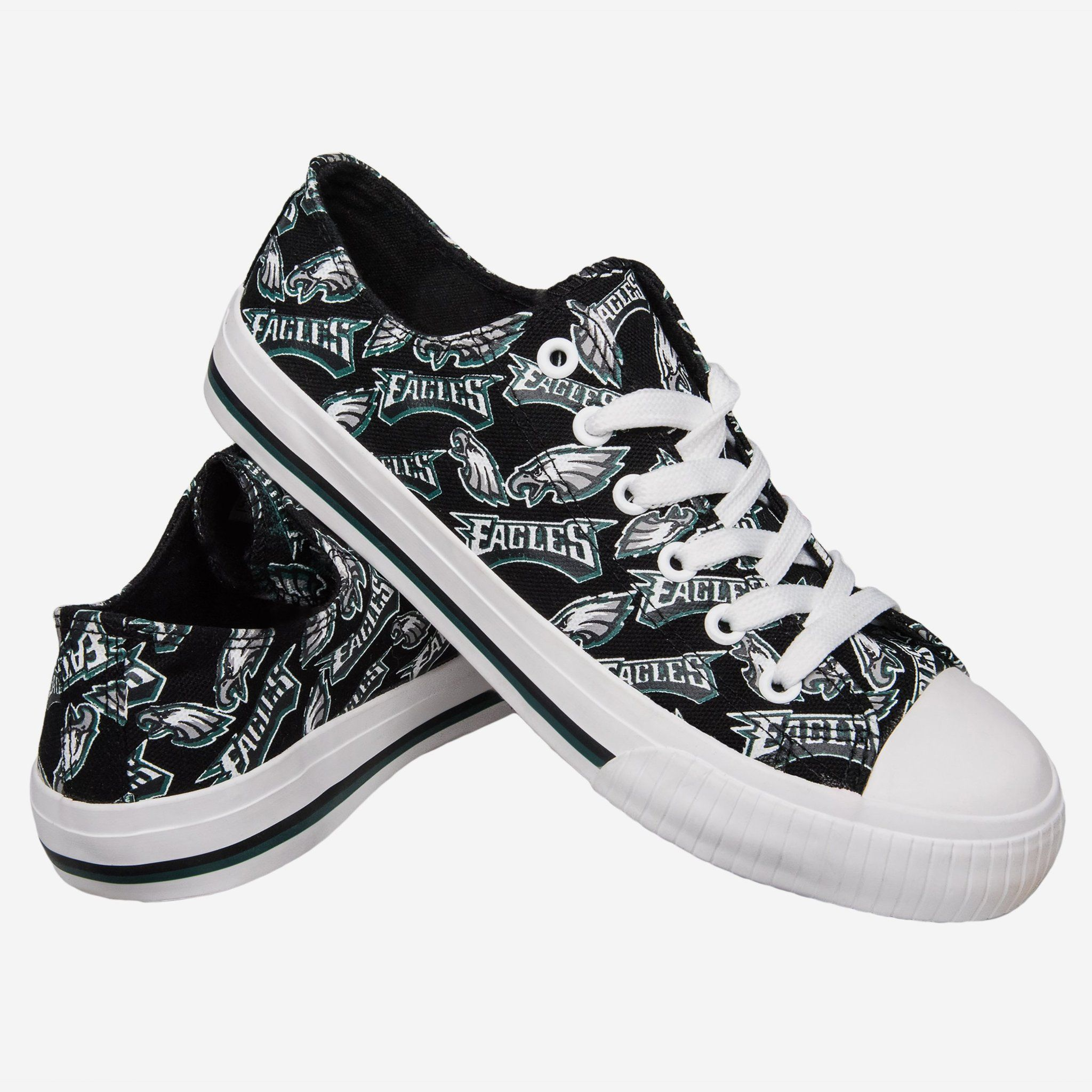 1f0ccc45cea734 Philadelphia Eagles Womens Low Top Repeat Print Canvas Shoe FOCO.com ...