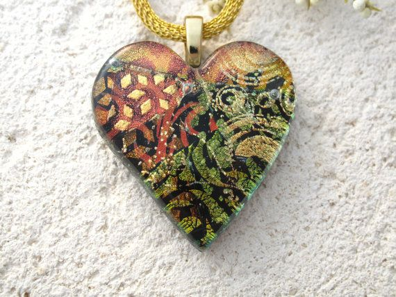 Golden Copper  Heart Necklace  Dichroic Fused Glass by ccvalenzo, $30.00