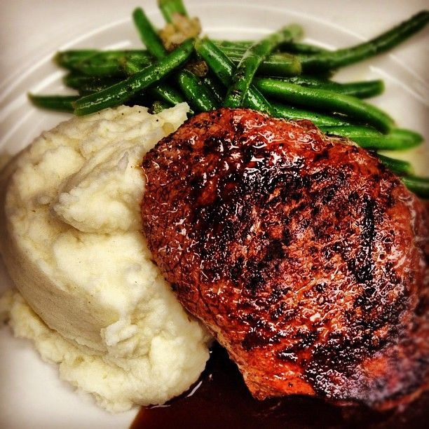 One of Harry Caray's Italian Steakhouses' Opening Day Specials is Prime Center-Cut Top Sirloin Baseball Steak with Goat Cheese Mashed Potatoes and Sautéed Green Beans with Budweiser Demi Glace