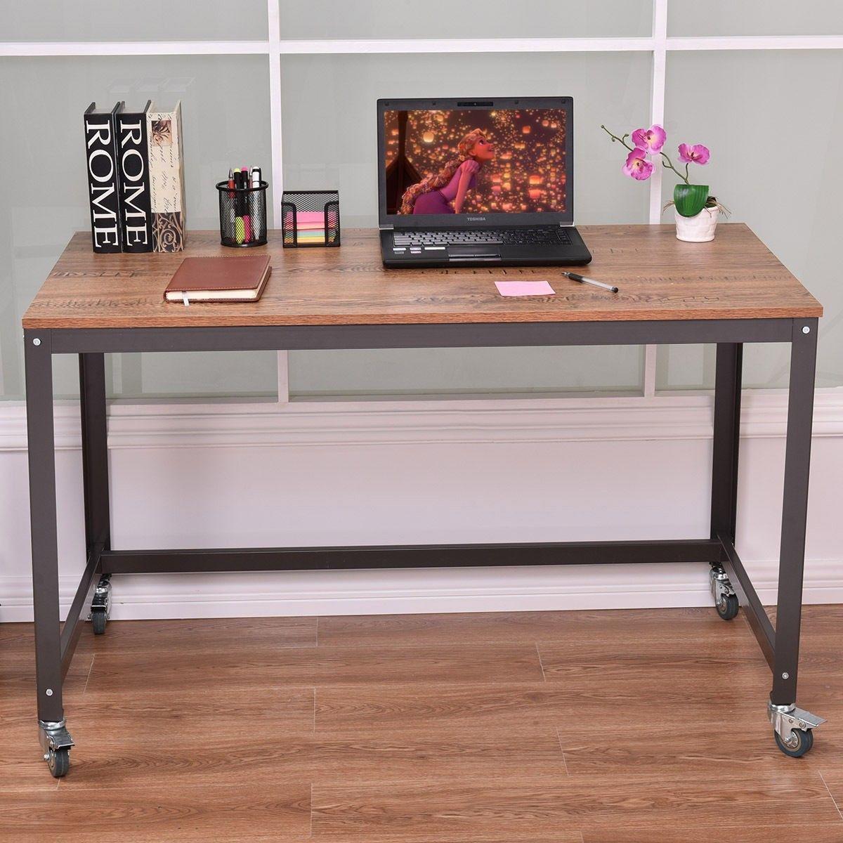 Wood Top Metal Frame Rolling Computer Desk Laptop Table Cheap Office Furniture Metal Desks Desk Metal Frame