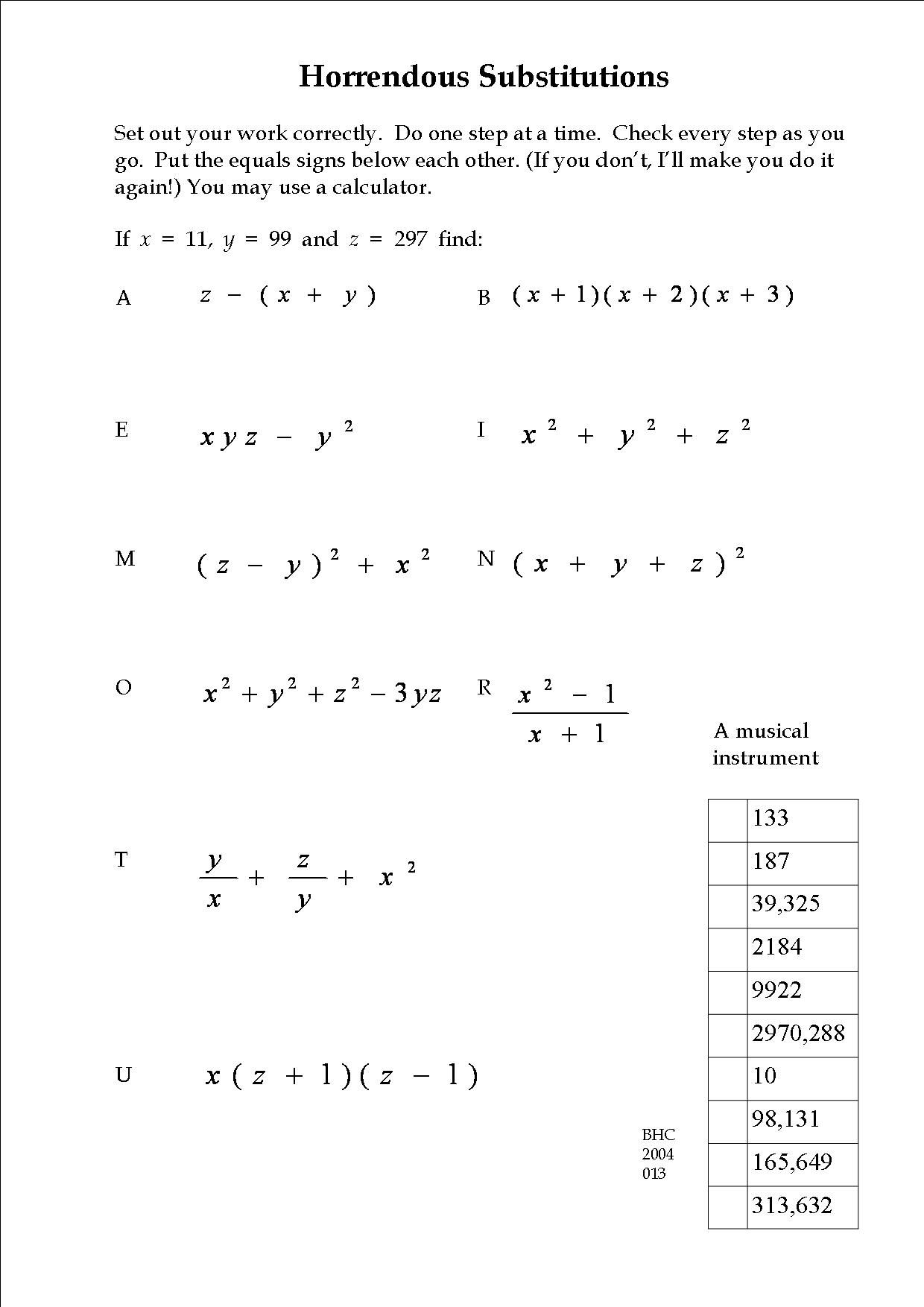 An Exercise In Substitution Math Worksheet Math Teaching