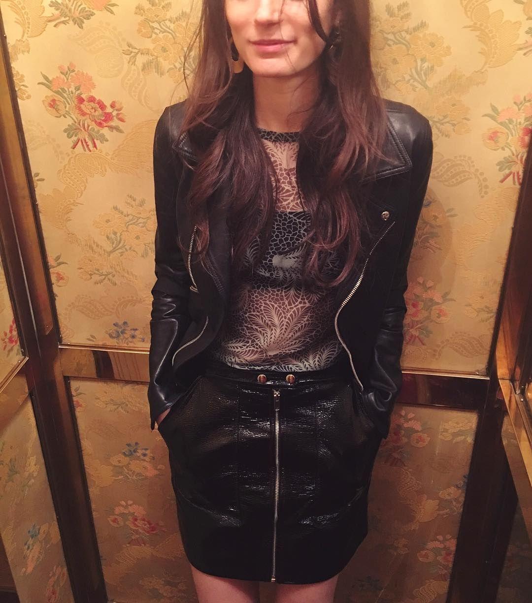 Leather jacket instagram - Pleather Alexianied Gilliansagansky Instagram Black Leather Skirt Black Leather Jacket