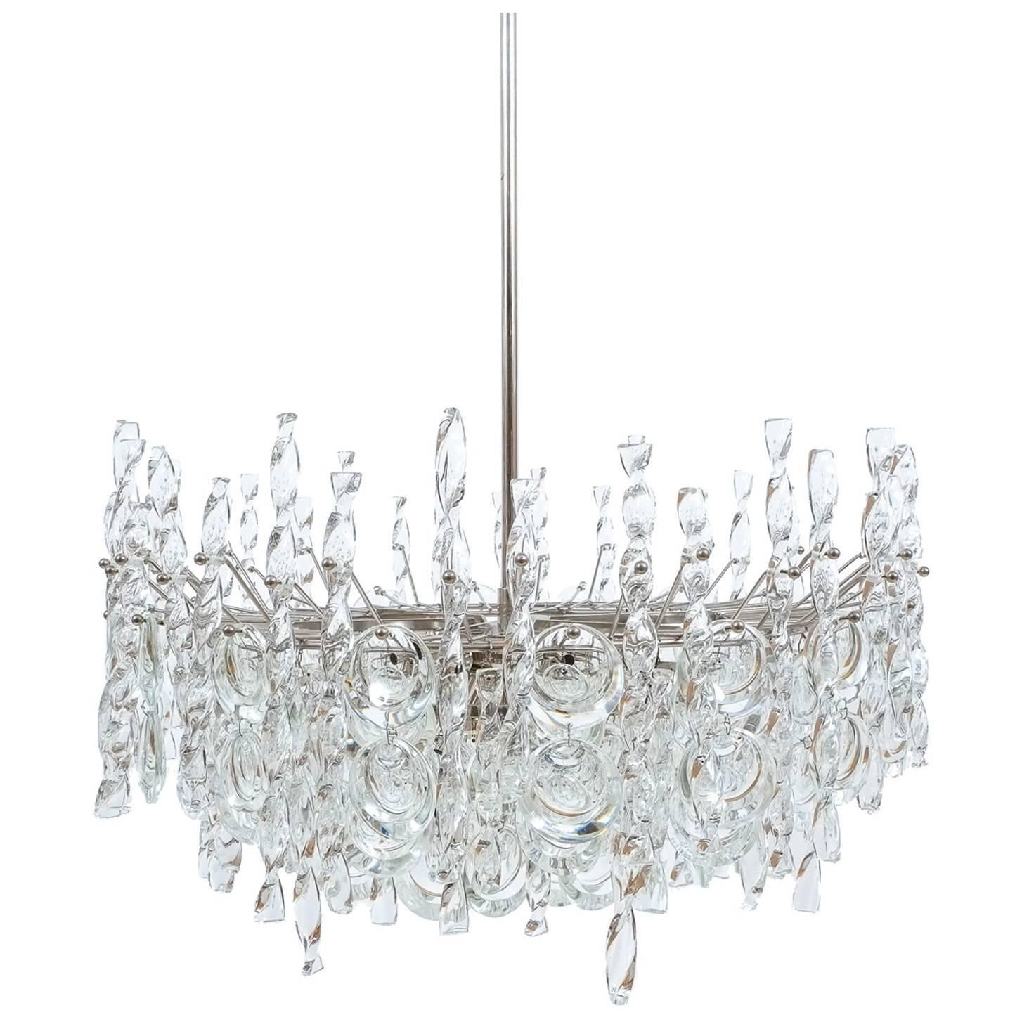 Impressive Tendril Ribbon Glass Chandelier Lamp by Palwa, 1960