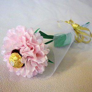 Tissue paper rose with chocolate handmade flower wrapped with tulle tissue paper rose with chocolate handmade flower wrapped with tulle valentines day gift pink mightylinksfo