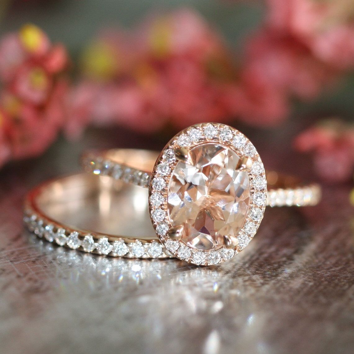 Morganite Engagement Ring Petite Diamond Wedding Ring Set in 14k Rose Gold, 9x7mm Oval Pink Morganite Ring and Half Diamond Eternity Band by LaMoreDesign on Etsy https://www.etsy.com/listing/194333932/morganite-engagement-ring-petite-diamond